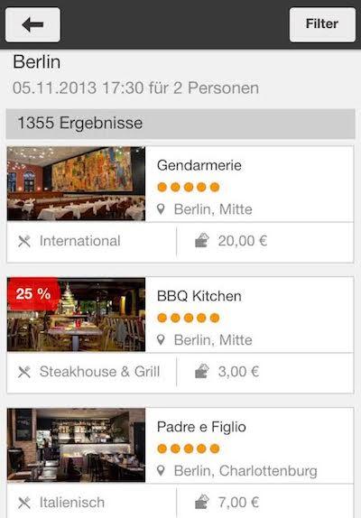 Qandoo App mobile Reservierung