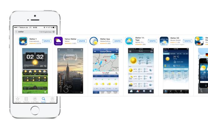 Suchergebnisse für den Begriff Wetter im AppStore