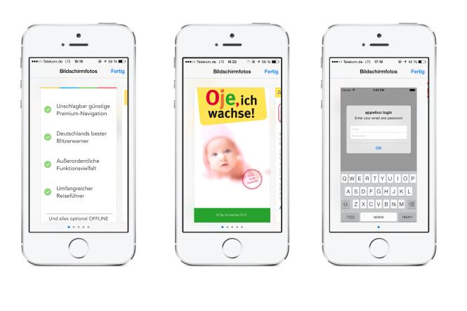 Die Wahl des ersten Screenshots für Apps