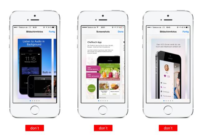 Screenshots nachtraeglich bearbeitet im AppStore