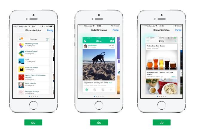 Gute Beispiele für Screenshots in Apps