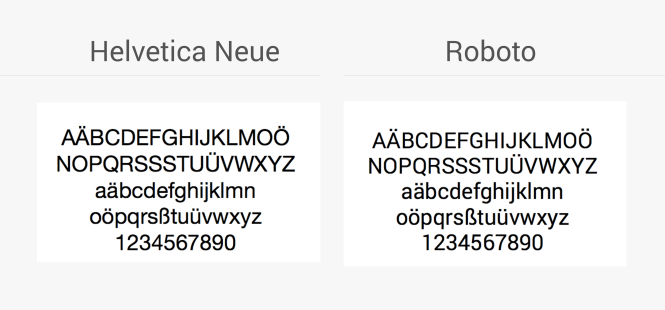 Standardschriften in iOS und Android