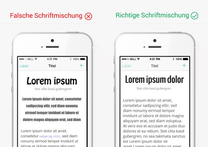 Mischung von Schriftarten im App-Design