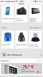 Telekom-Werbung auf der mobilen Webseite von ebay