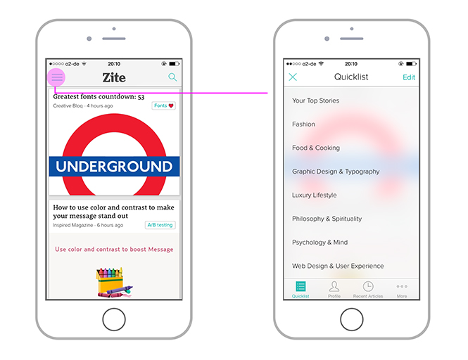 Zite als Beispiel für eine iOS Navigation