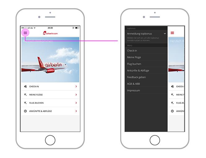 Sidebar am Beispiel der Airberlin-App