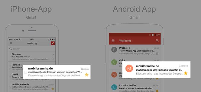 iOS vs Android - Typografie