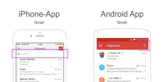 iOS vs Android - Suche