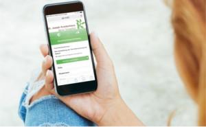 female using phone white screen display