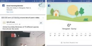 Faceboo Wetterinfo im Newsfeed