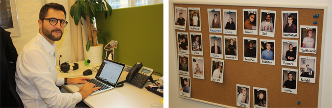 Jan Wolter im Großraumbüro (links). Eine von vier Pinnwänden mit Mitarbeiter-Fotos (rechts).