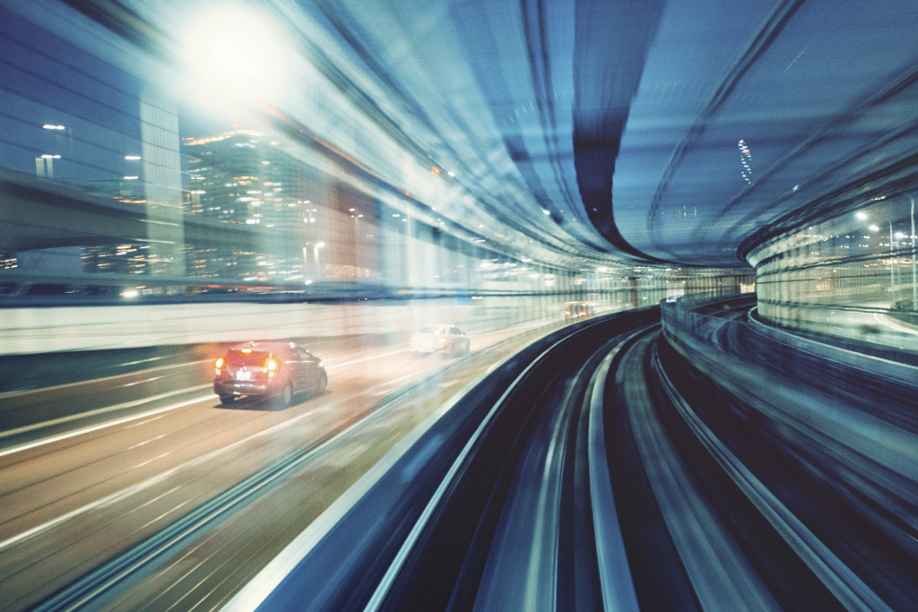 Railway blurred motion with cars