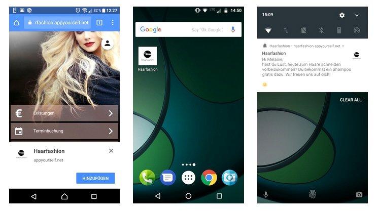 grafische Darstellung der Umsetzung von Progressive Web Apps auf dem Smartphone