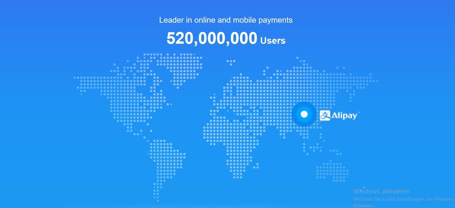 Alipay Garfik Kunden weltweit