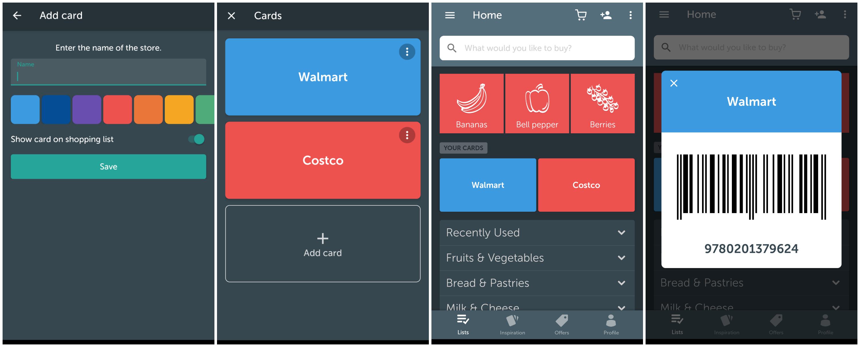 einkaufslisten app bring integriert kundenkarten. Black Bedroom Furniture Sets. Home Design Ideas
