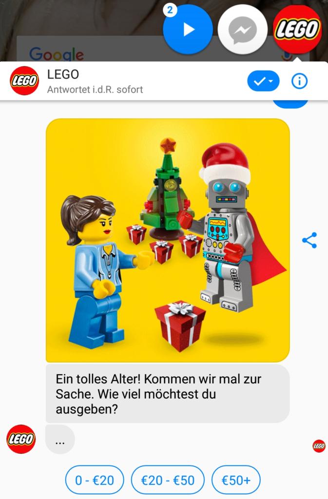 Lego gibt per Chatbot Tipps für Weihnachtsgeschenke.