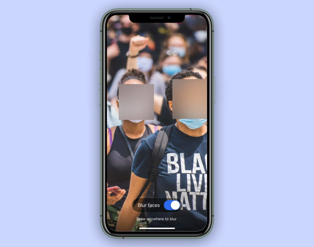 Unkenntlich gemachte Gesichter in der Signal App