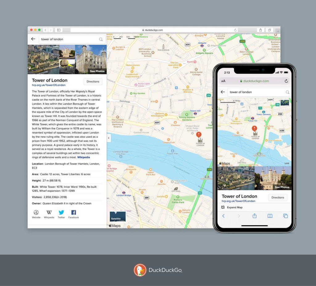Duckduckgo-App mit neuem Routenplaner
