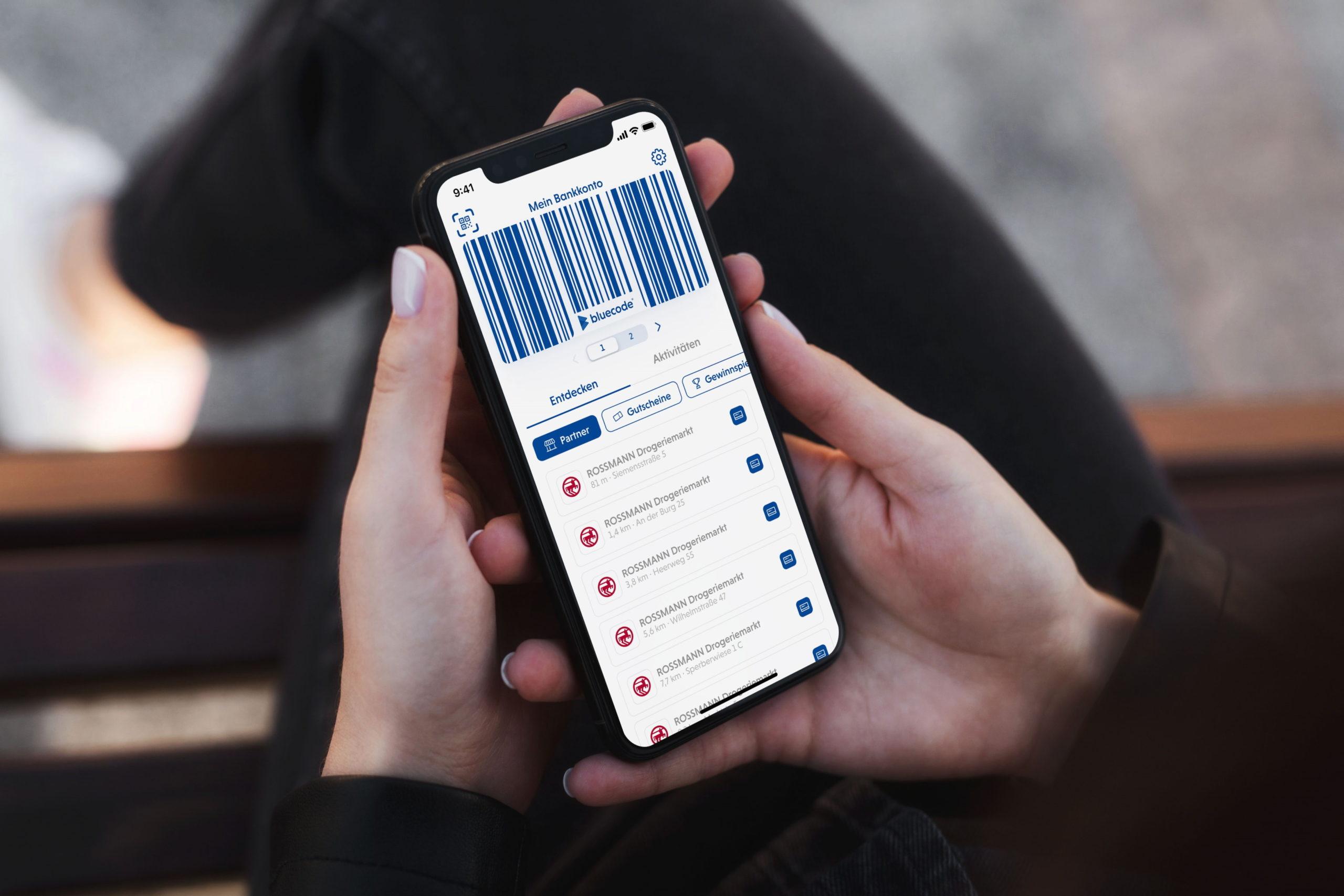 Bluecode-App erzeugt Barcode für Zahlung bei Rossmann