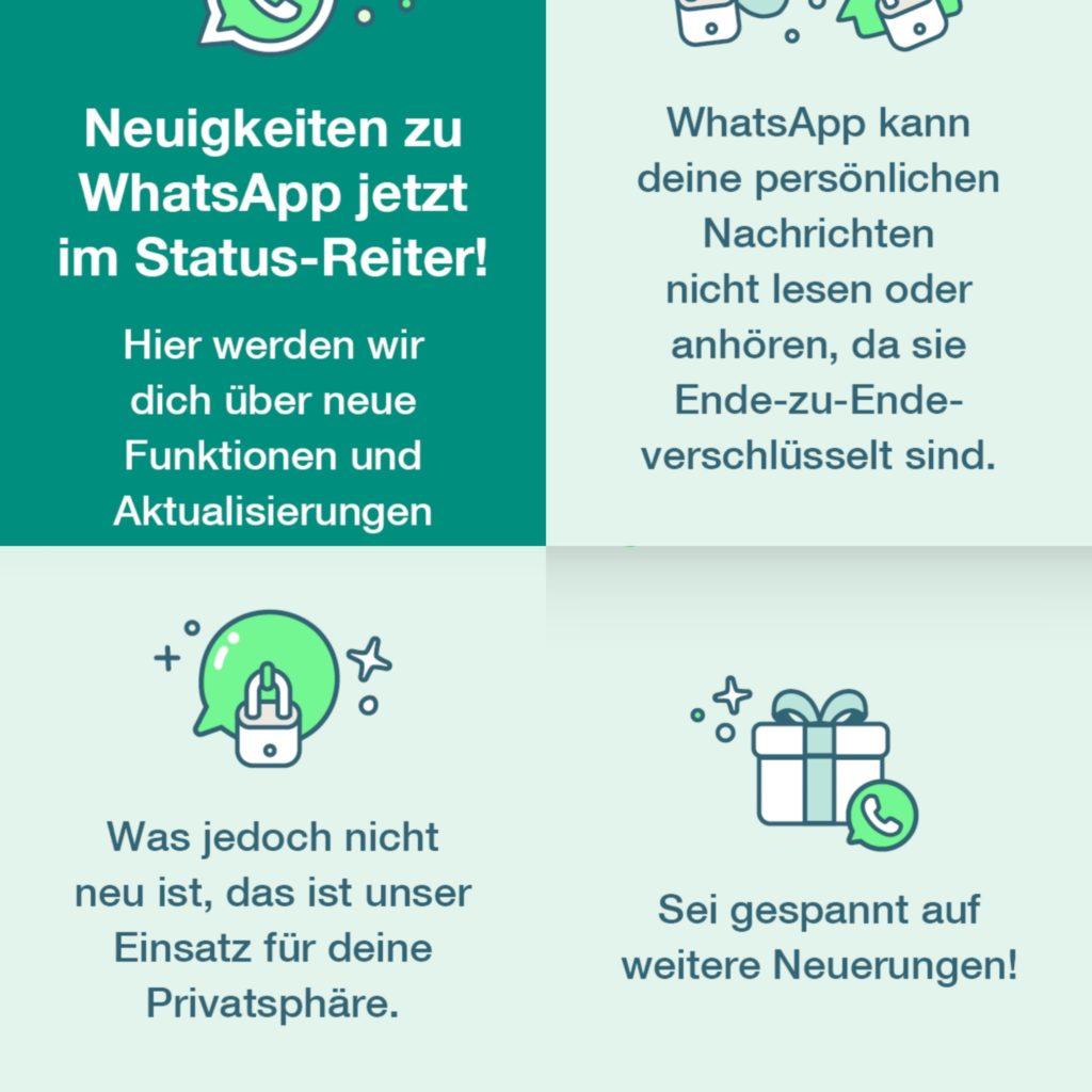 WhatsApp informiert jetzt in den Statusmeldungen über Neuigkeiten.